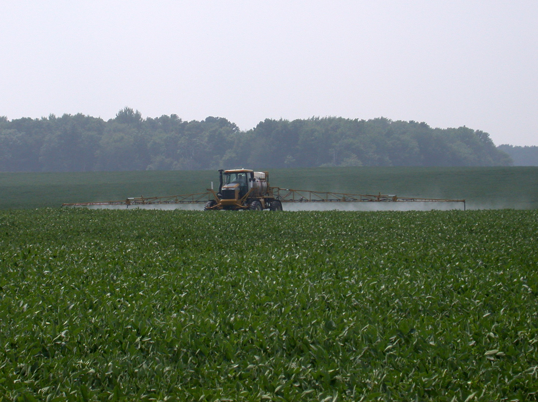Soybean spraying.