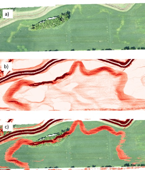 Figure 6. Aerial photo showing chlorosis and N deficiency stress in soybean (Fig. 3a). Slope of the soil surface visualized in red (Fig. 3b) show the likely location of seep hydrology where slope is greatest (i.e. areas of dark red). Areas of high slope (dark red from 6b) overlayered on the soybean aerial image (6a) correlate well with regions of crop stress (Fig. 6c).