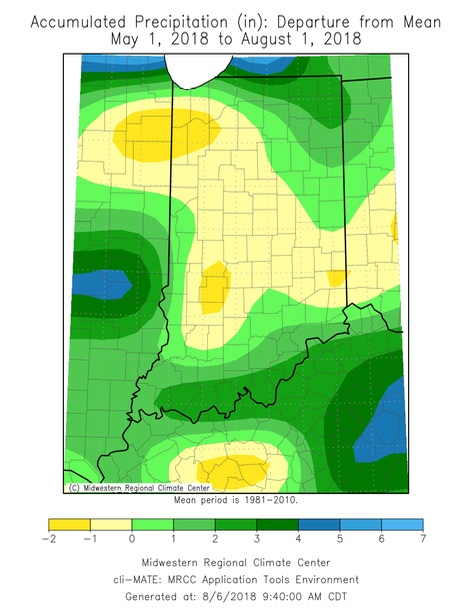 Figure 1. Rainfall across Indiana from May 1 until August 1 2018. In general, the yellow areas have received less precipitation than normal, while the green areas have received more precipitation than normal.