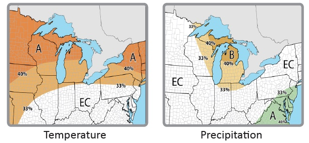 Winter temperature and precipitation outlooks valid for Dec. 2018-Feb. 2019 (EC: Equal chances of above, near, or below normal; A: Above normal; B: Below normal)