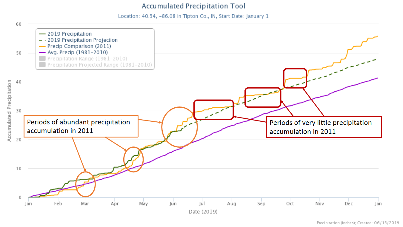 Comparison of precipitation accumulation between 2019 (green line) and 2011 (orange line). Purple line represents the average precipitation accumulation over the 1981-2010 period. The dashed green line represents a projection of the remainder of the 2019 calendar year assuming accumulation follows a rate similar to the climatological accumulation rate. Highlighted circles regions outlined by either circles or rectangles illustrate that while 2011's accumulated precipitation exceeded 2019 leading into summer, the late-summer through mid-fall months experienced very little precipitation.