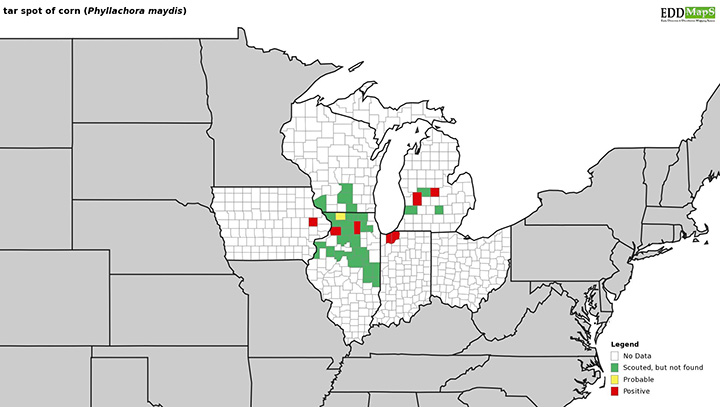 Figure 3. Distribution of tar spot of corn as of July 25, 2019. Source: https://corn.ipmpipe.org/tarspot/.