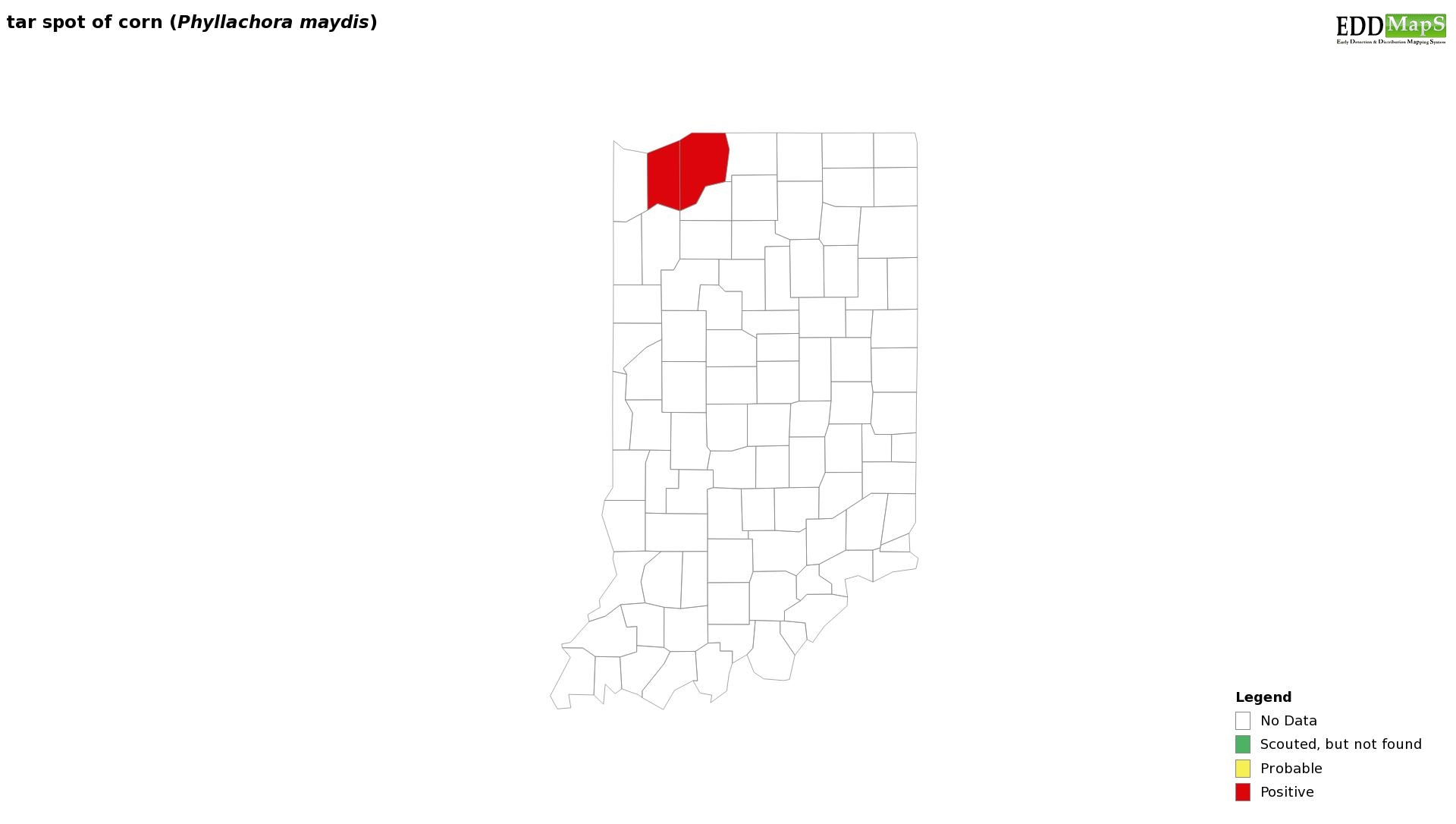 Figure 1. 2019 Distribution map of counties confirmed for tar spot of corn in Indiana. Website: https://corn.ipmpipe.org