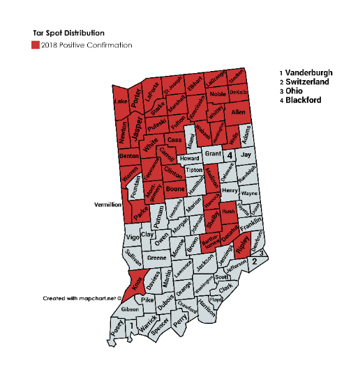 Figure 2. 2018 tar spot distribution in Indiana. Red counties indicate tar spot was confirmed.