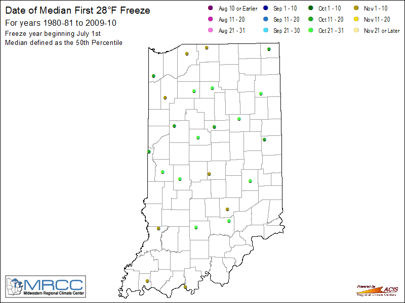 Date of Median First 28F Freeze