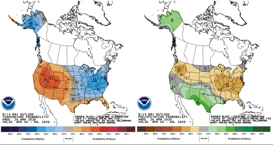 Figure 4. Climate outlooks for the 8- to 14-day period representing April 03-09, 2020. Temperature probabilities are displayed on the left; precipitation probabilities displayed on the right. The greater the probabilistic value, the greater the confidence that temperatures / precipitation amounts will be above / below normal – depending on the map and shading, respectively.