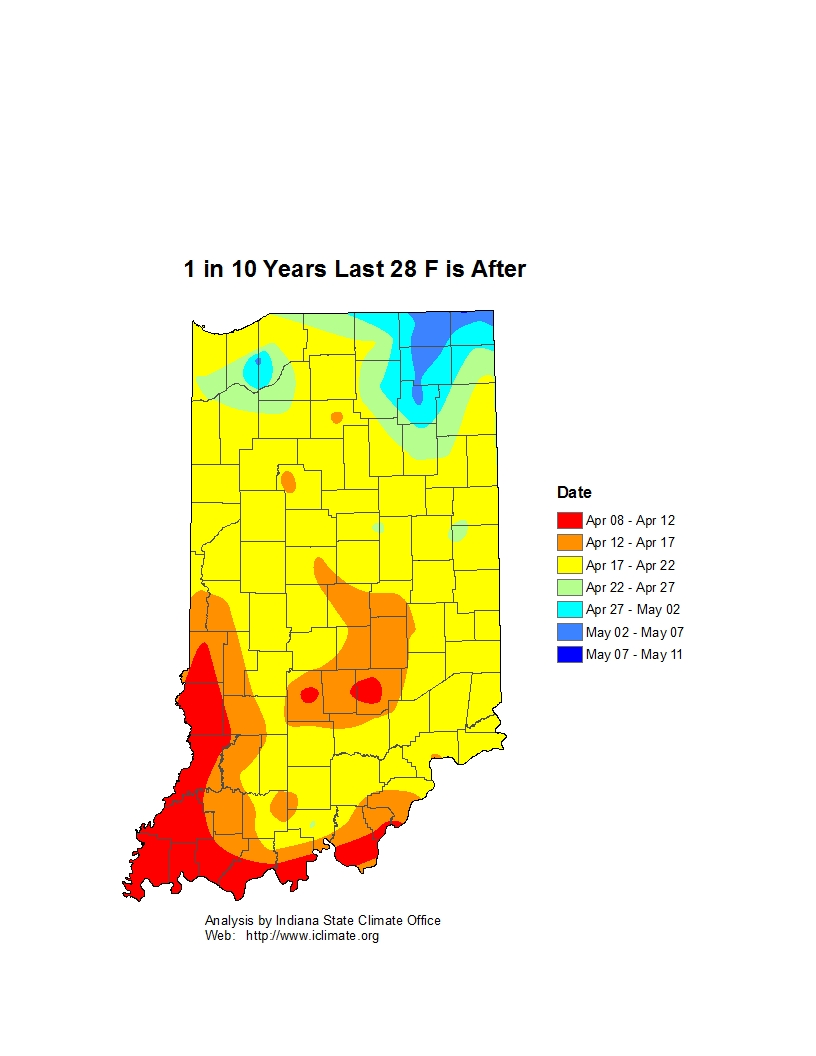 Figure 2. Map showing the approximate date when climatologically there was only a 10% chance that a hard freeze would occur later.