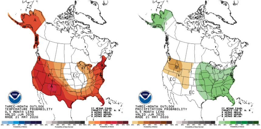 Figure 1. The June-July-August temperature (left) and precipitation (right) outlooks indicating the probabilistic confidence of conditions likely to be above or below normal.