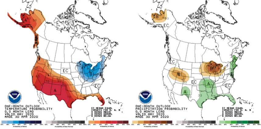 Figure 5. Climate outlooks for May 2020 that indicate the level of confidence for above- or below-normal conditions. Temperature outlook is on the left; precipitation outlook is on the right.