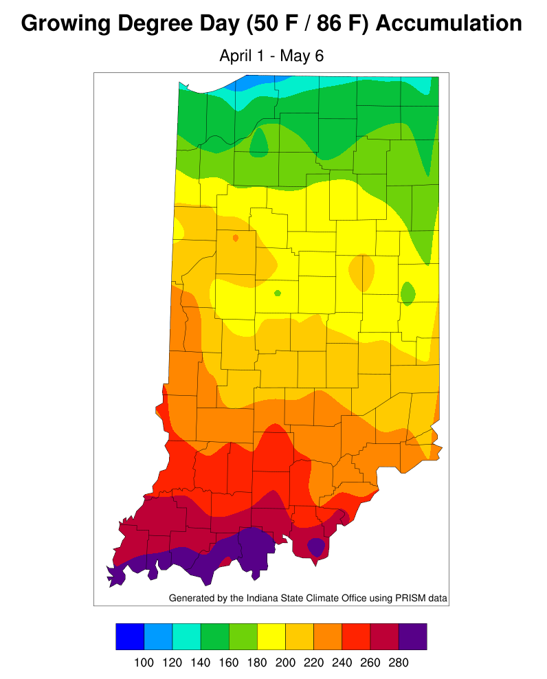 Figure 2. Modified growing degree-day accumulation for April 1 - May 6, 2020.