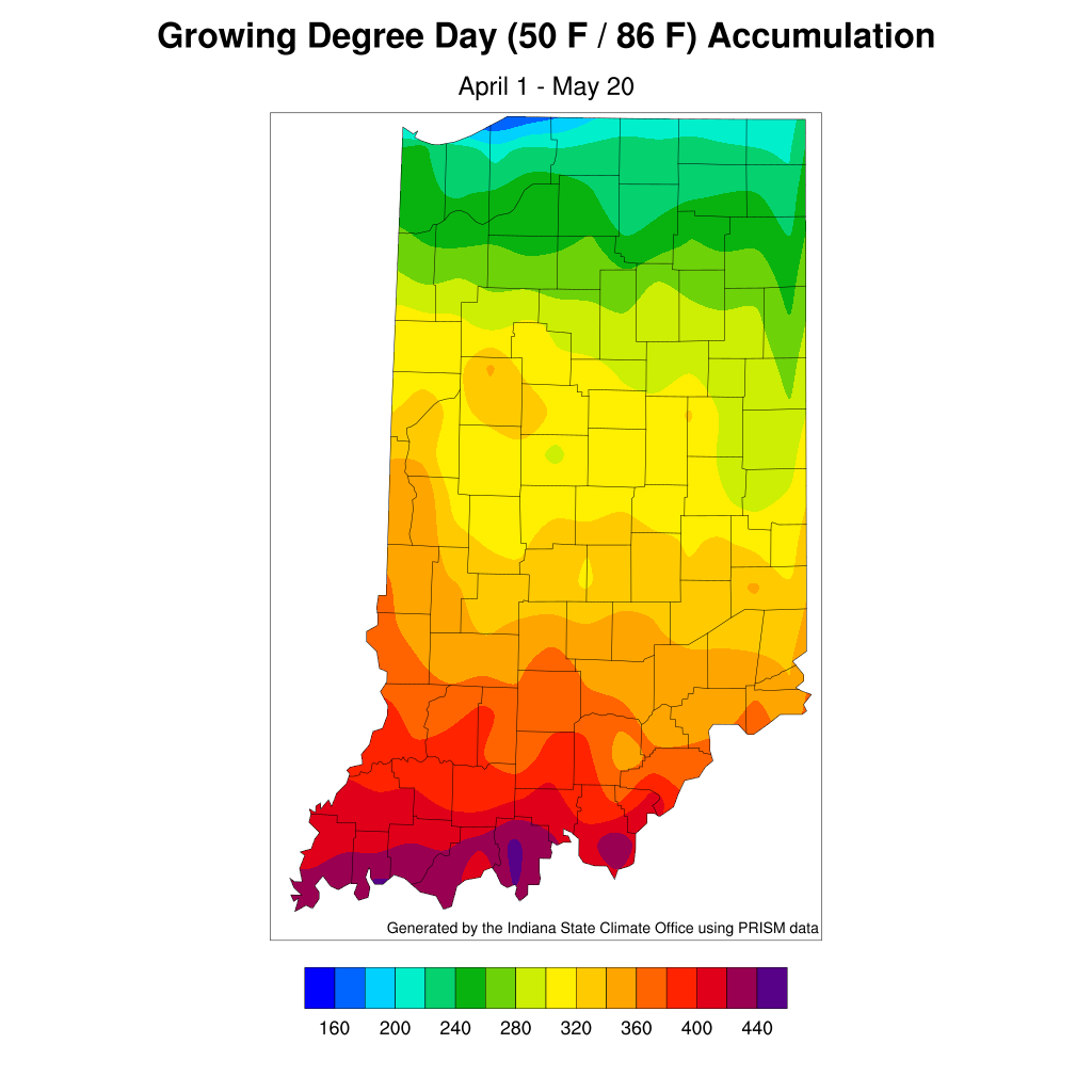 Figure 3. Modified growing degree-day accumulations for April 1 – May 20, 2020.