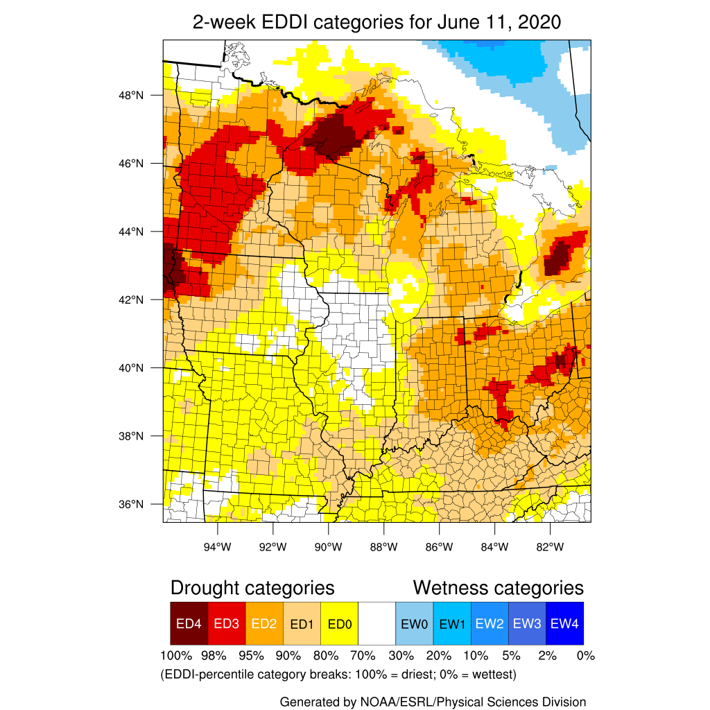 Figure 2. The Evaporative Drought Demand Index (EDDI) representing the level of modeled dryness based on recent precipitation, temperature, humidity, and other evapotranspiration factors. Period covers May 28 through June 11, 2020.