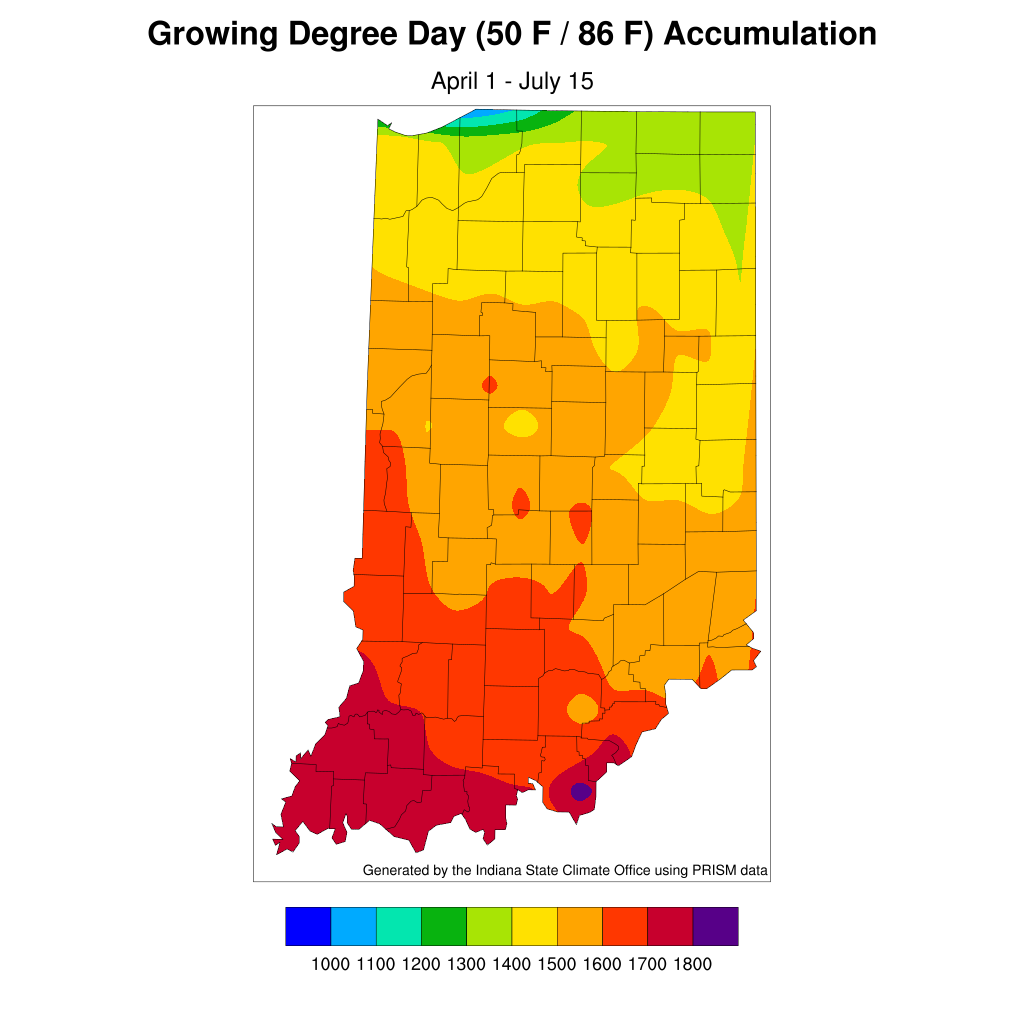 Figure 4. Accumulated modified growing degree days since April 1, 2020.