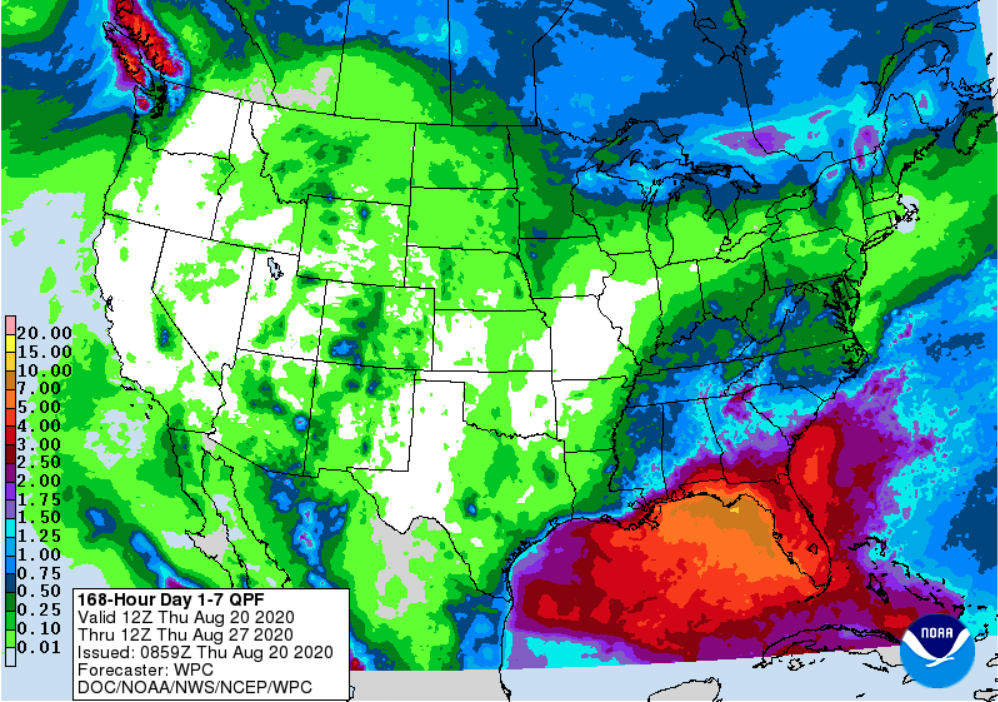 Figure 2. The National Weather Service's 7-day accumulated precipitation forecast for August 20-27, 2020.