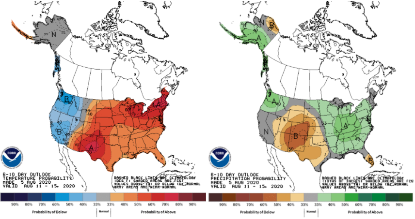 Figure 1. Probabilistic climate outlooks for temperature (left) and precipitation (right) for the period of August 11-15. Source: Climate Prediction Center.