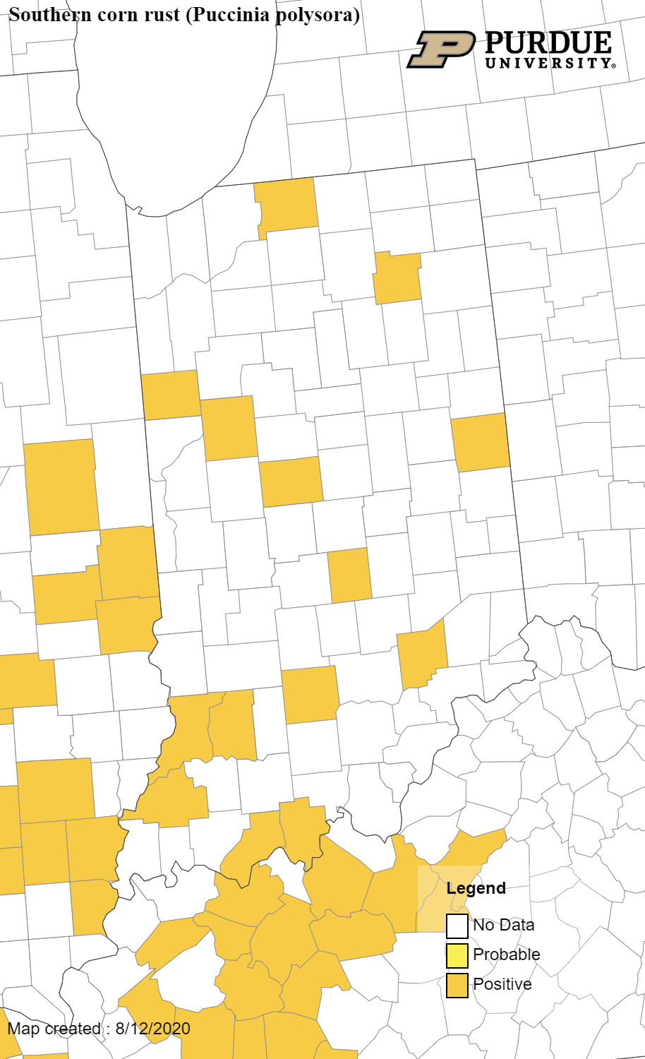 Figure 3. Map of counties confirmed for southern corn rust in Indiana as of August 12, 2020.