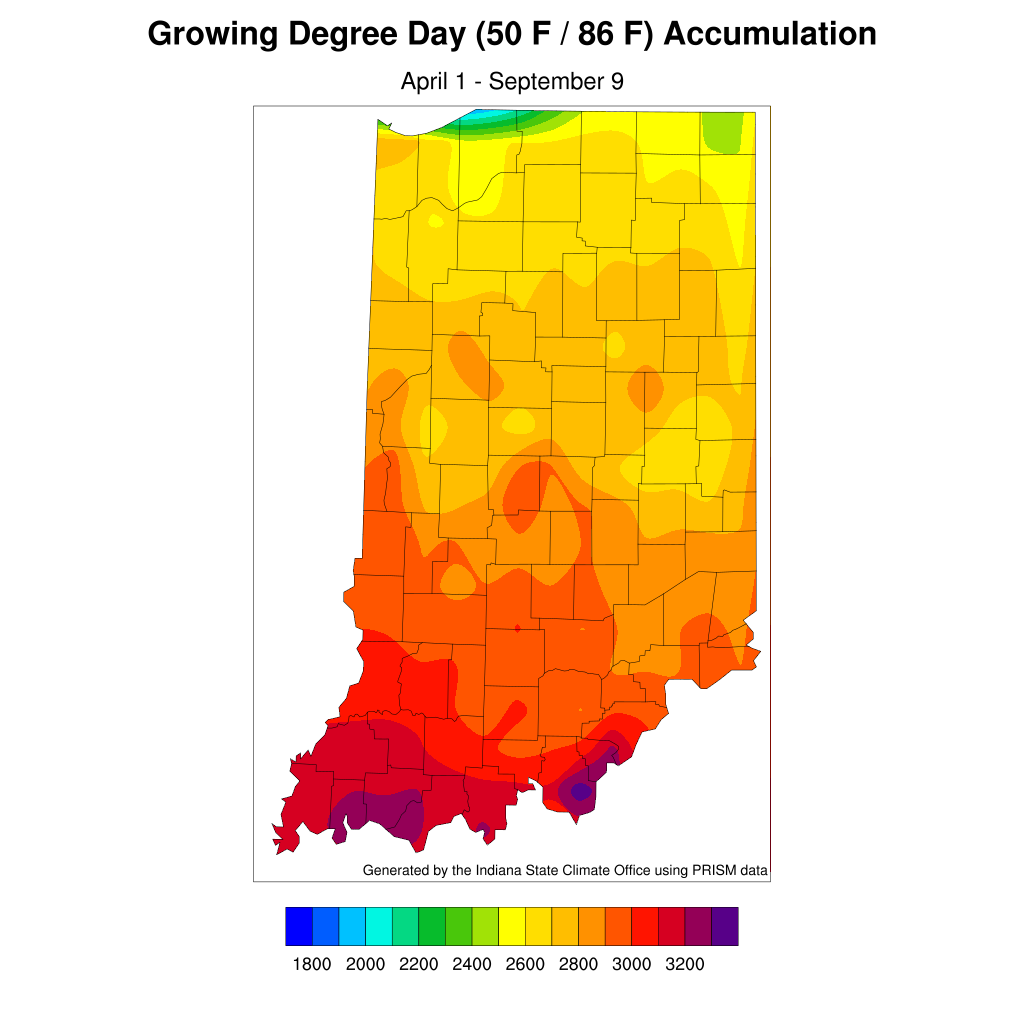 Figure 3. Modified accumulated growing degree-day units for April 1 – September 9, 2020
