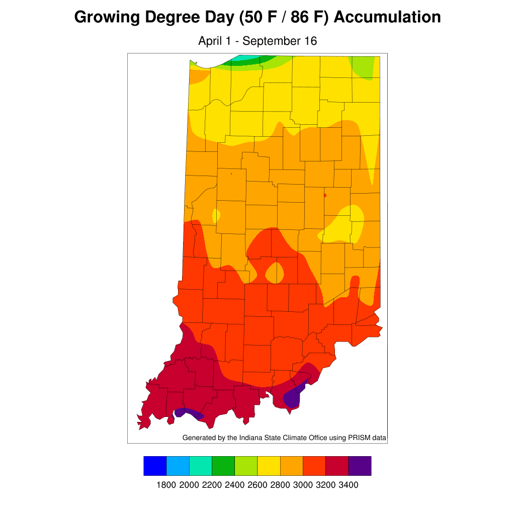Figure 3. Modified accumulated growing degree-day units for April 1 – September 16, 2020.