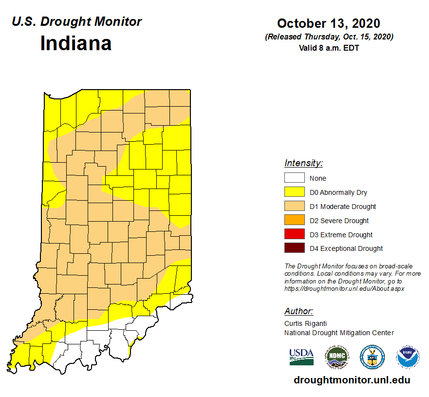 Figure 2. United States Drought Monitor map for Indiana representing conditions as of Tuesday, October 13, 2020.