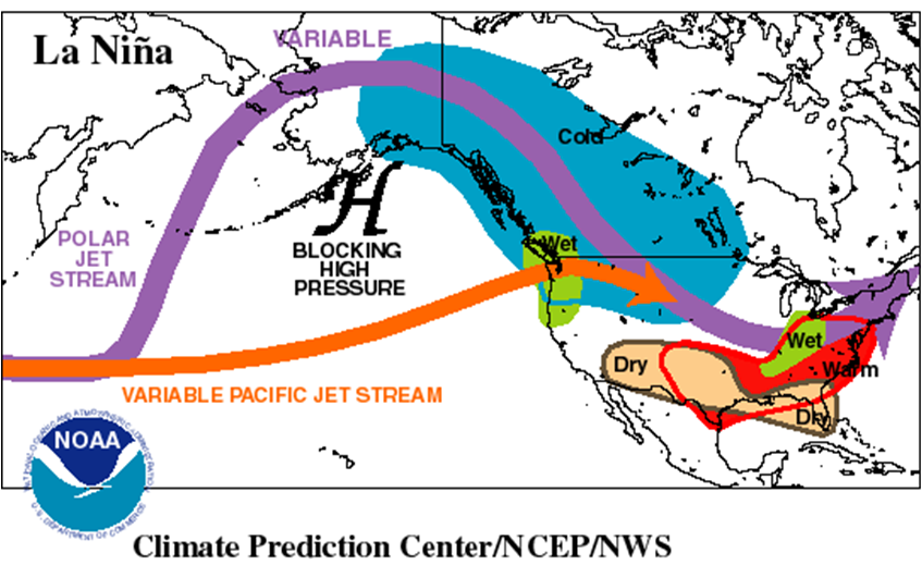 Figure 2. Typical winter season climate patterns associated with a La Nina.