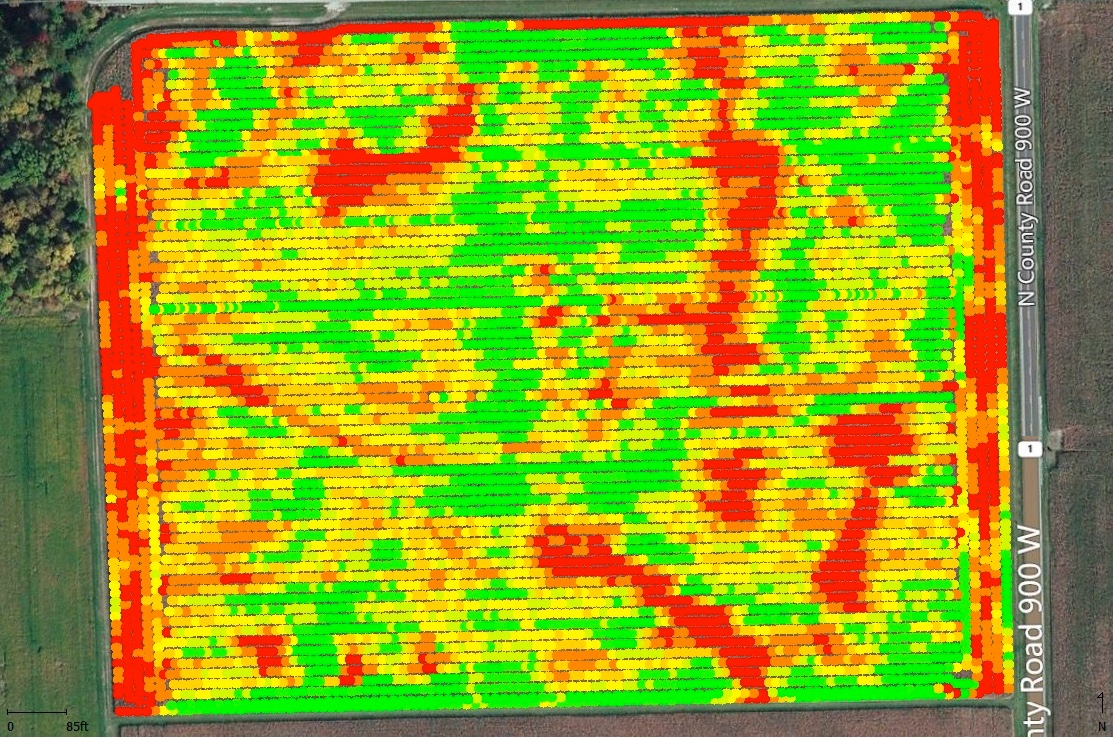 Fig. 2. Map of yield data correctly processed for start/stop delays and grain flow shift. Colors: Green = highest yields, Red = lowest yields. Davis-Purdue Ag Center, Field M1 (30-ac), 2015 corn harvest.