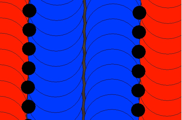 Fig. 3. Precisely overlapped geo-positions of logged 16-row planting data (black = planter center) and 8-row harvest data (combine center), resulting in accurate assignment of hybrids to yield data points (red = Hybrid A, blue = Hybrid B).