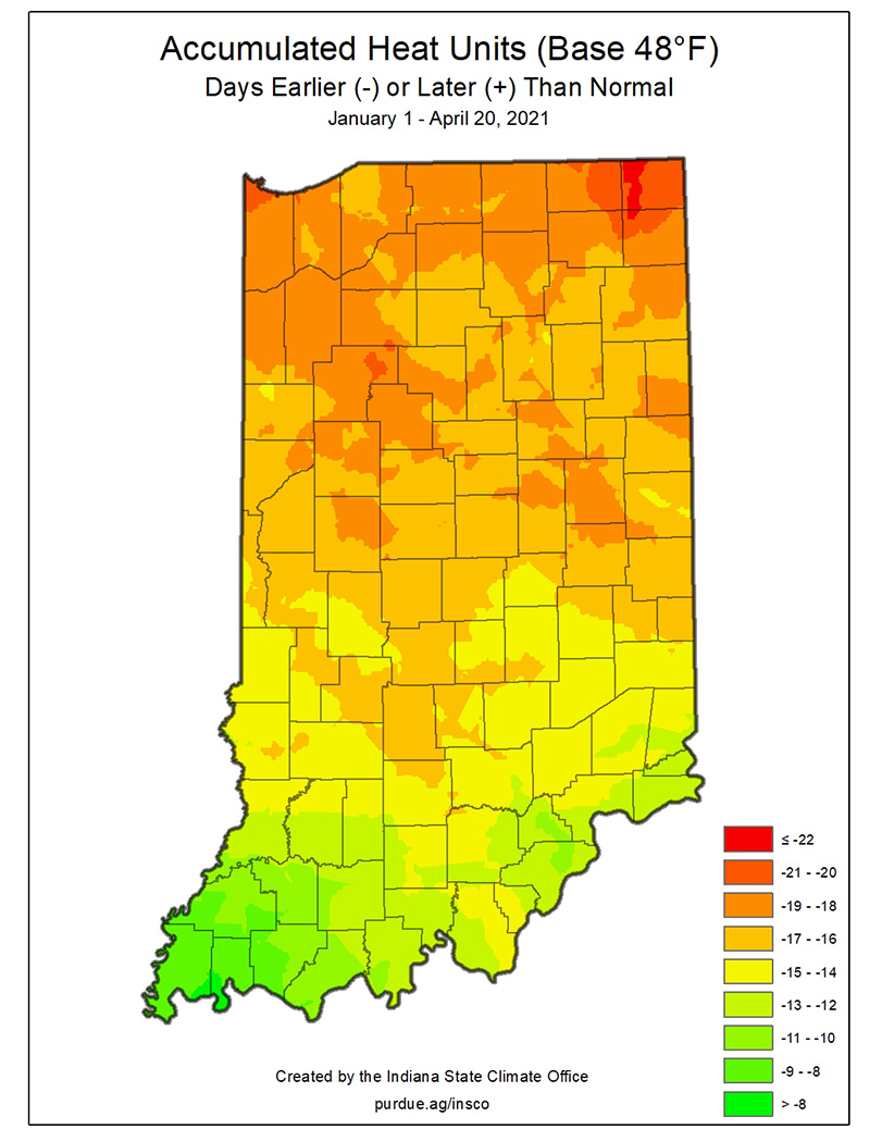 This map shows why alfalfa weevil development and damage this year is way ahead of normal.