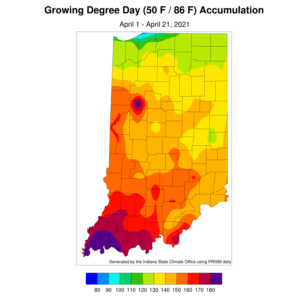Figure 3. Modified growing degree day accumulation from April 1-21,2021.