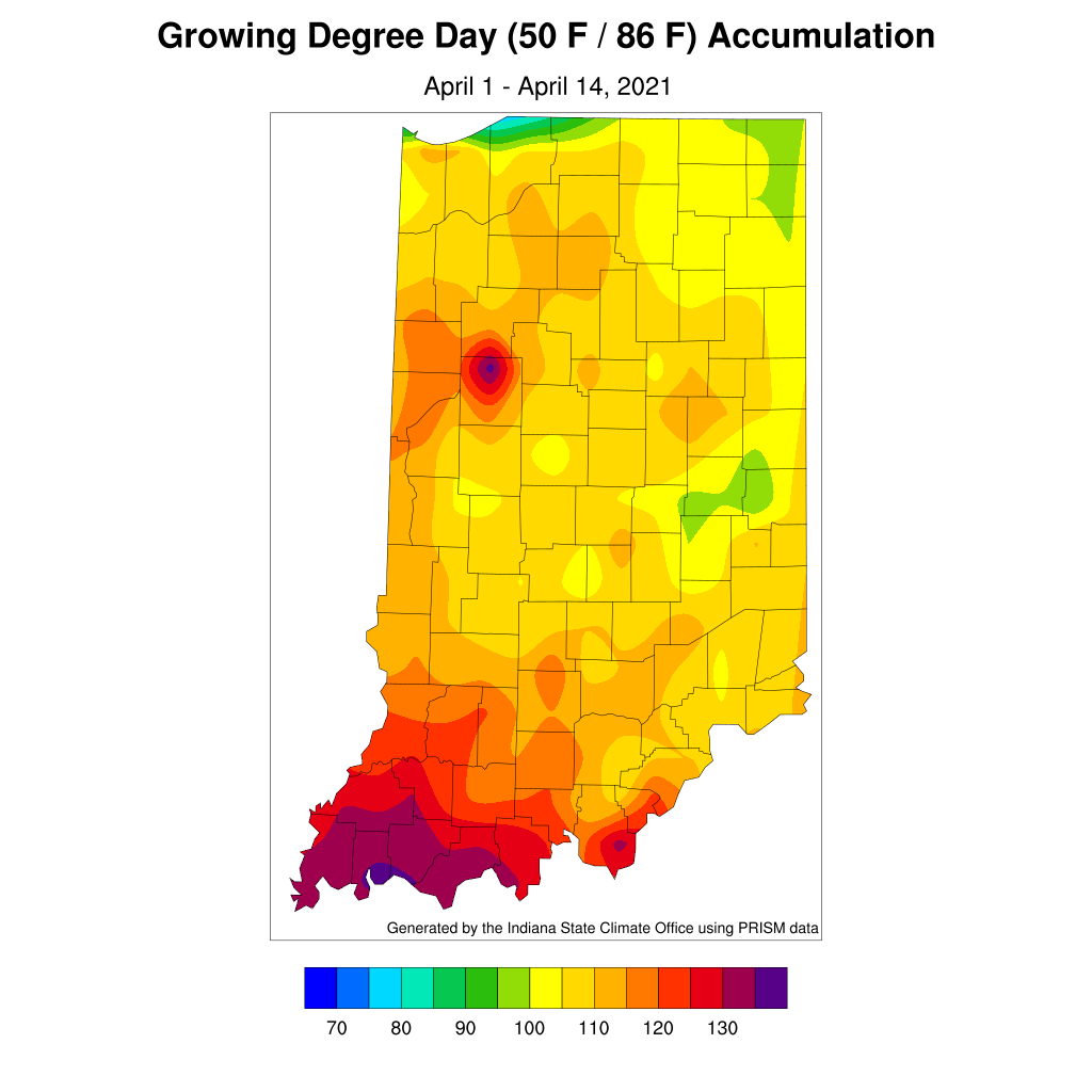 Figure 1. Modified growing degree day accumulation from April 1-14,2021.