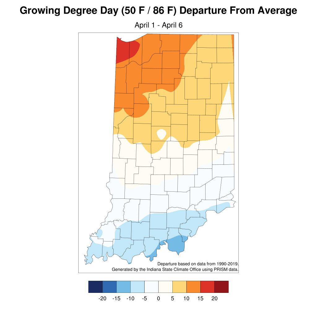 Figure 2. The growing degree day departure from average from April 1 through April 6.