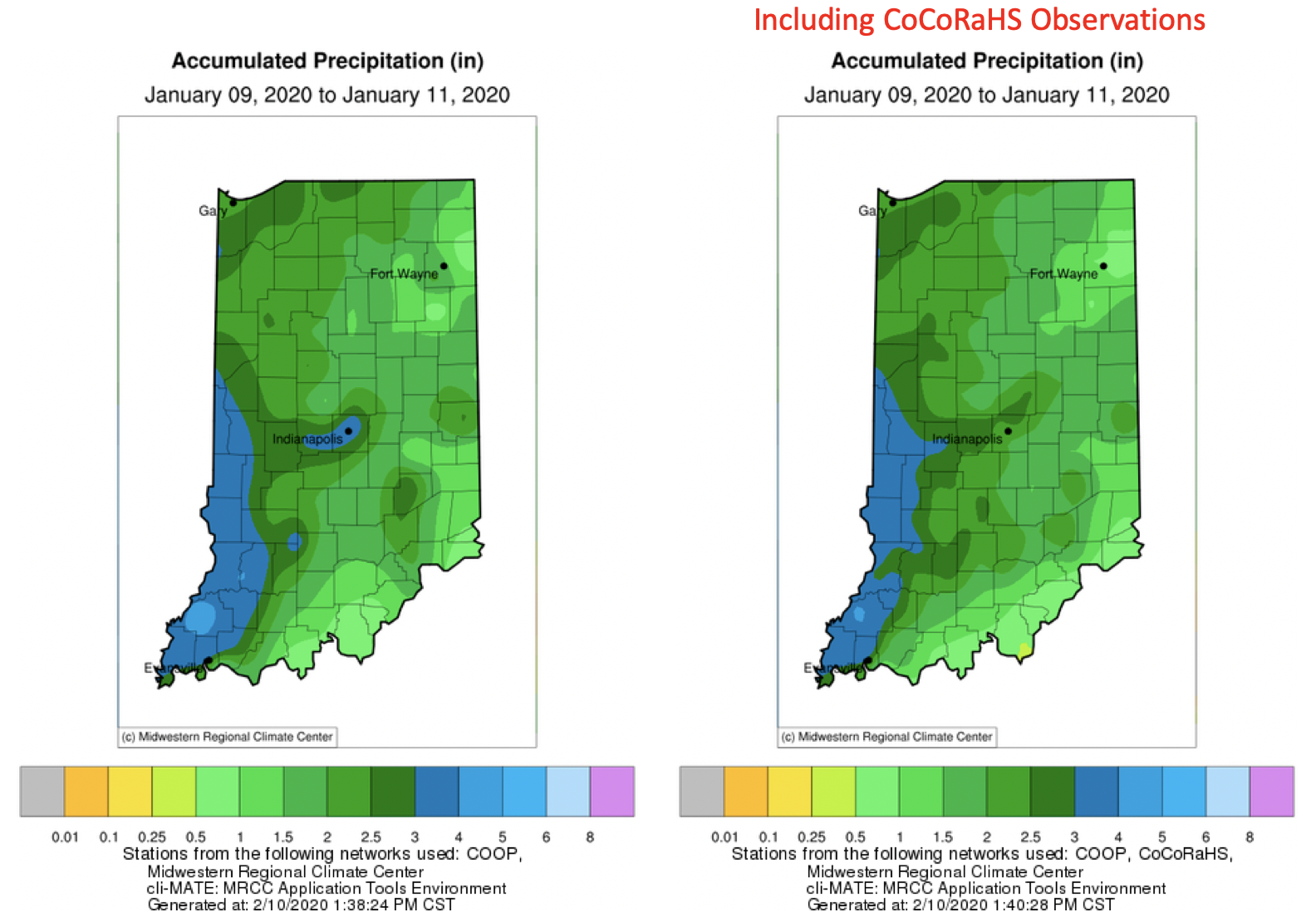 Figure 3. Comparison of maps showing interpolated precipitation observations when considering data from only the National Weather Service's Cooperative Network (COOP; left map) to the one that includes both COOP and CoCoRaHS data (right).