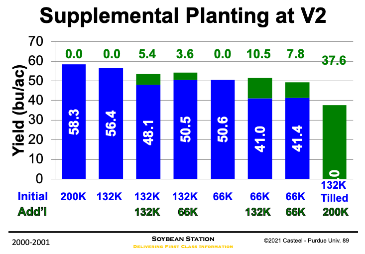 Figure 2. Yield effect of filling in various soybean stands in 7.5-in drilled rows (blue) with 30-in planter (green). (Semmel and Christmas, 2002).