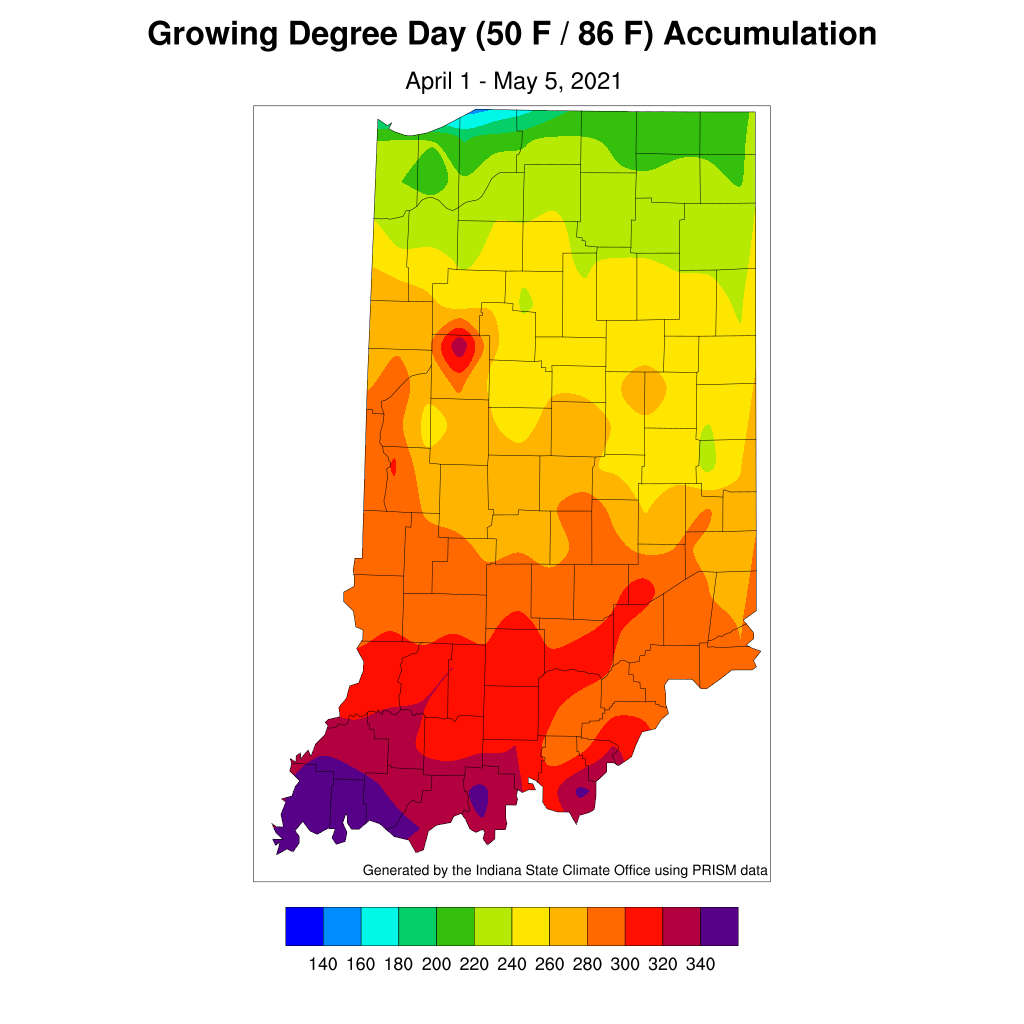 Figure 4. Modified growing degree day accumulation from April 1 to May 5, 2021.
