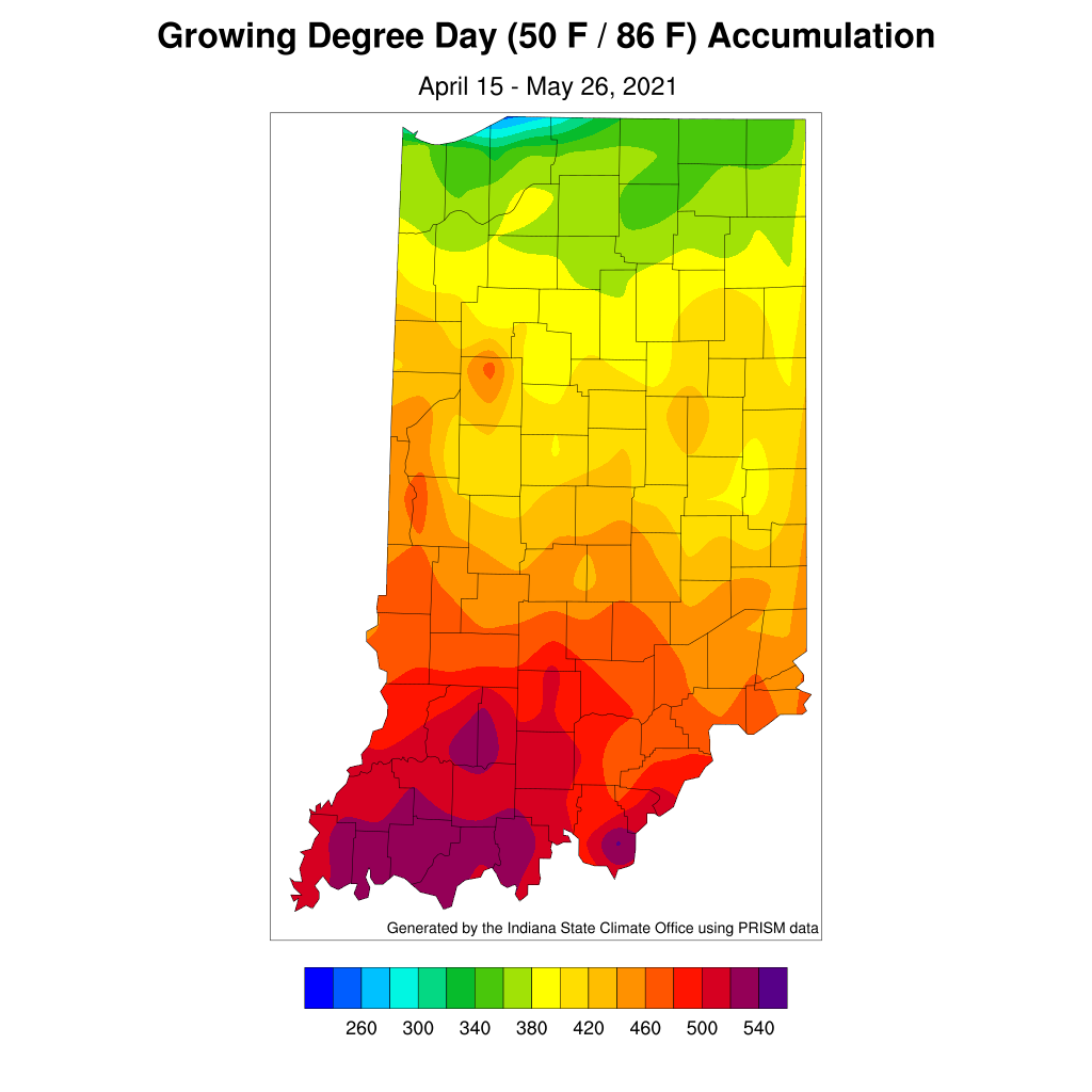 Figure 3. Accumulated modified growing degree days from April 15 through May 26, 2021.