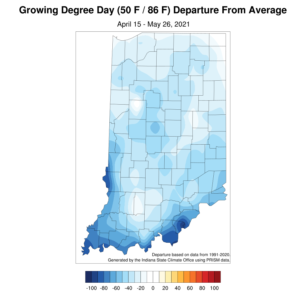 Figure 4. Modified growing degree day departures for the period April 15 – May 26, 2021 compared to the 1991-2020 climatological period.