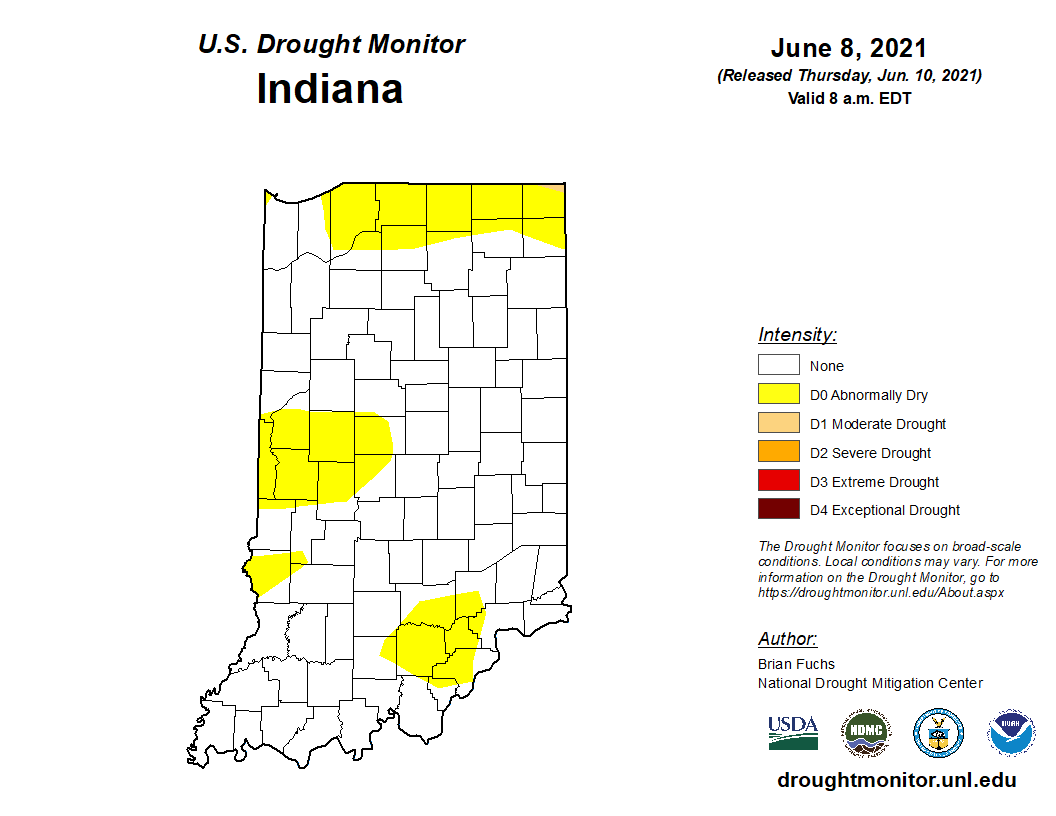 Figure 2. US Drought Monitor state for Indiana as of June 8, 2021.