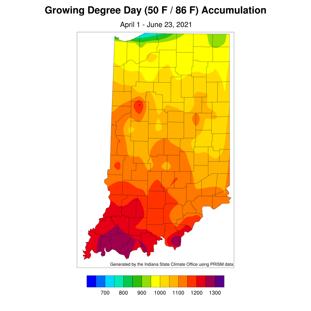 Figure 2. Modified growing degree day accumulations from April 1 to June 23, 2021.