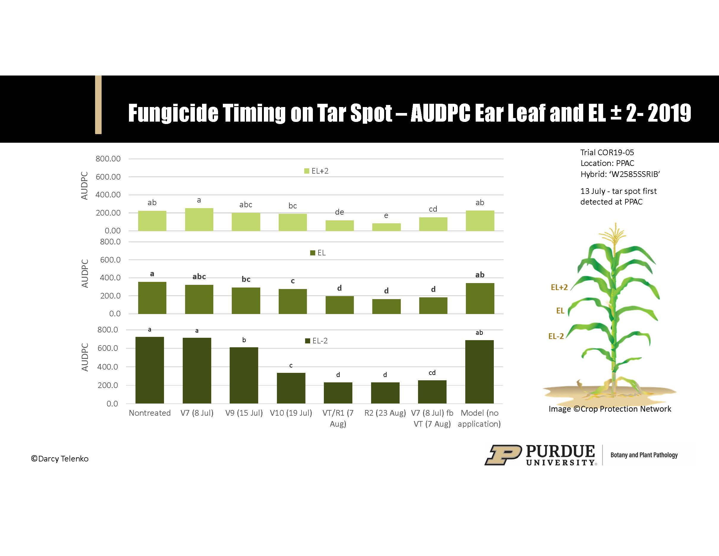 Figure 2. Effect of fungicide timing on the development of tar spot on the ear leaf (EL) and the two leaves above and below the ear leaf (EL±2). Timing treatments included V7, V9, V10, tassel/silk (VT/R1), blister (R2), and a two-fungicide application program made at V7 followed by VT. AUDPC = by area under disease progress curve. Tar spot first detected in trial on 13 July.