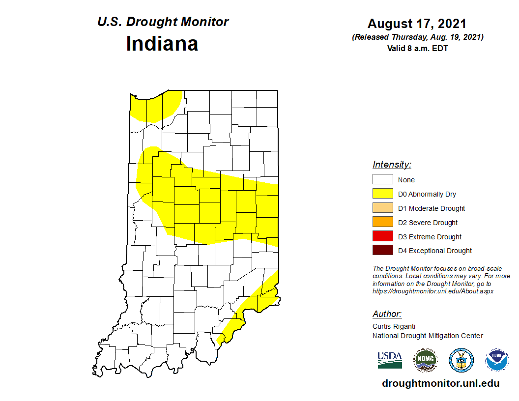 Figure 3. US Drought Monitor status based on conditions through August 17, 2021.