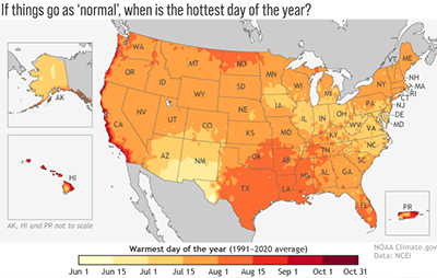 Figure 2. The average warmest day of the year based upon data from 1991 through 2020.