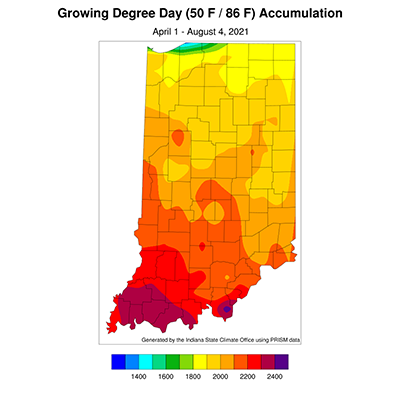 Figure 3. Modified growing degree day accumulations from April 1 to July 28, 2021.