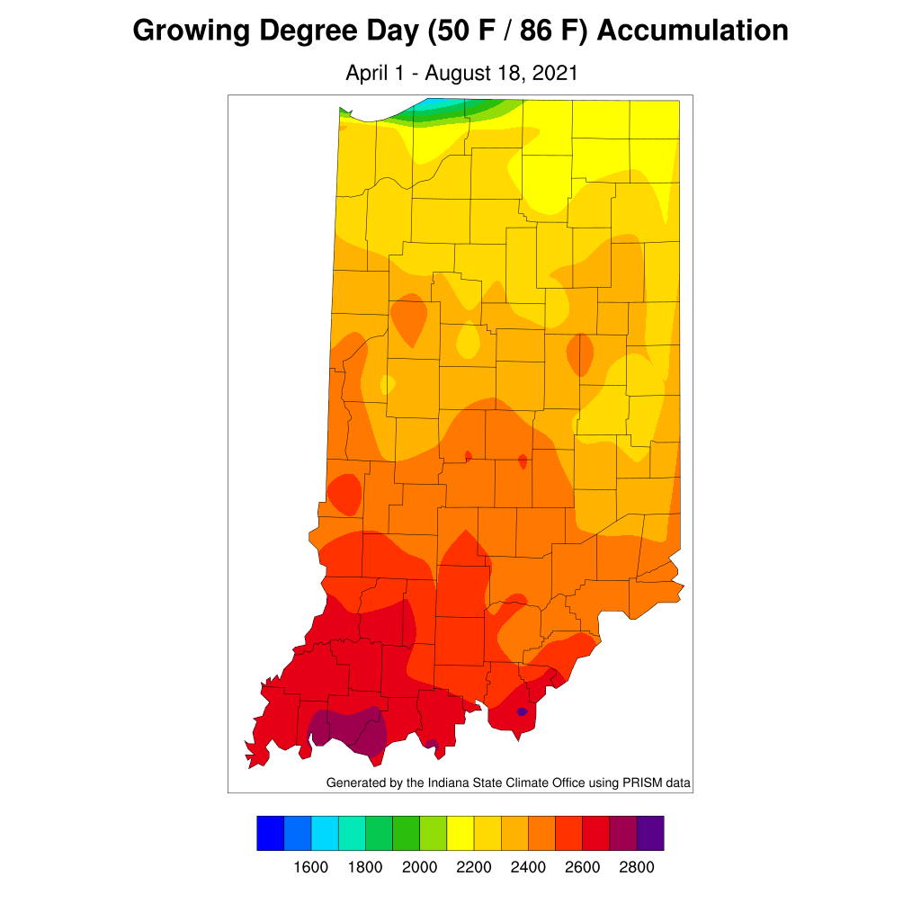 Figure 4. Modified growing degree day accumulations from April 1 to August 18, 2021.