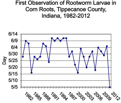 First Observation of Rootworm Larvae in Corn Roots, Tippecanoe County, Indiana, 1982-2012