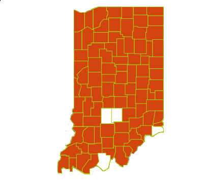 Figure 1. Shown in red are counties with confirmed infestation of soybean cyst nematode in Indiana.